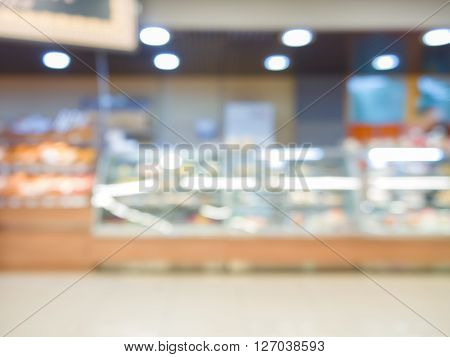 Blur Bakery Shop With Bokeh As Background