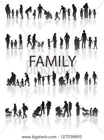 Set of very detailed Family Silhouettes: Men's, Women's and Children. Vector.