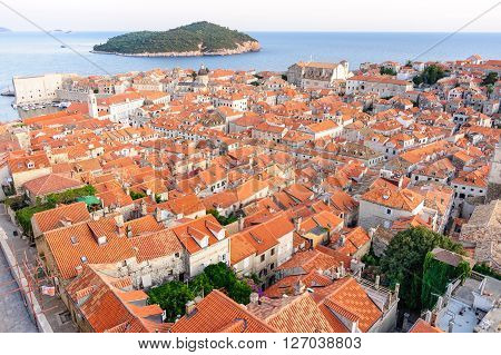 Bird's eye view of the old city of Dubrovnik and Locrum island