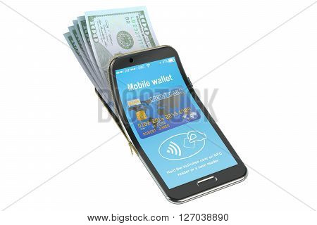 Money in the mobile phone NFC concept. 3D rendering