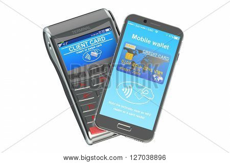 POS terminal with smartphone NFC concept. 3D rendering