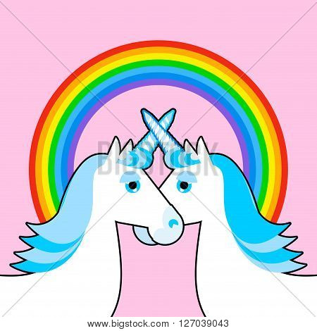 Blue Unicorn And Rainbow. Symbol Of  Lgbt Community. Fantastic Animal Gay Character. Pink Sky And My