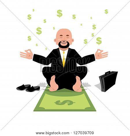 Financial Yoga. Businessman Meditating On Money. Man Sitting On Dollar In Lotus Position. Enlightenm