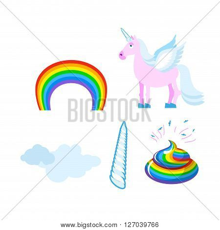 Fantastic Set Of Unicorn. Pink Fabulous Beast With Wings. Blue Mane. Unicorn Horn. Rainbow And Cloud
