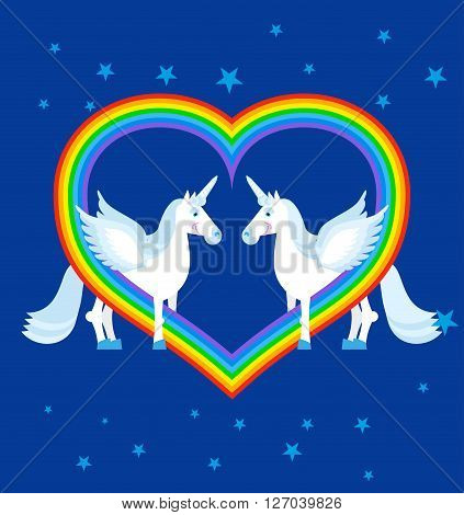 Two Blue Unicorn And Rainbow In Heart Shape. Fantastic Animals On Blue Sky. Lgbt Sign. Fabulous Beas