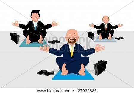 Business Yoga For Corporate Office Workers. Businessmen Sitting In Lotus Position And Meditate On We