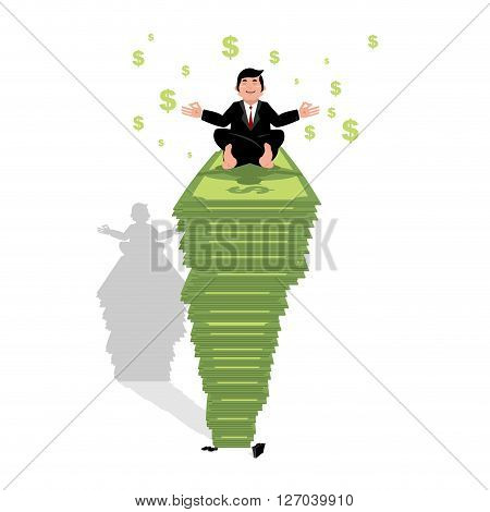 Businessman Meditating On Dollar. Financial Yoga. Man Sits On Pack Of Money In Lotus Position. Enlig