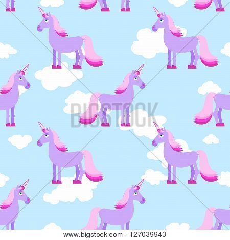 Purple Unicorn On Blue Sky With White Clouds Seamless Pattern. Fantastic Animal With Horn And Pink M