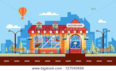 Stock vector illustration city street with butcher shop in flat style element for infographic, website, icon, games, motion design, video