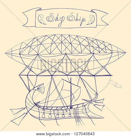 Fantastic scheme of flying ship with dirigible, sail, side rudders, and title banner with words Sky Ship, hand drawn line art vector illustration