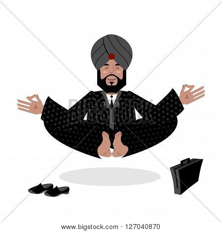Indian Businessman Meditating. Business Yoga By Indian. Man In Turban Engaged Enlightenment. Hindu W