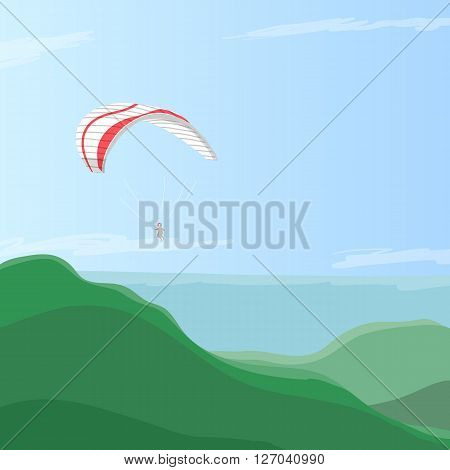 Sky diver flying on a paraglider in the blue sky over green hills, eps10 vector illustration with place for text or logo