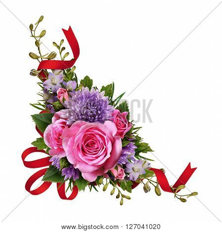 Aster and rose flowers corner arrangement with red silk ribbon isolated on white