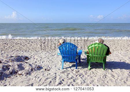 Senior Couple at the Beach Enjoying Retirement