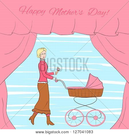 Young blonde woman in vintage clothes walks with a retro style stroller, frame decorated with curtains, eps10 vector illustration
