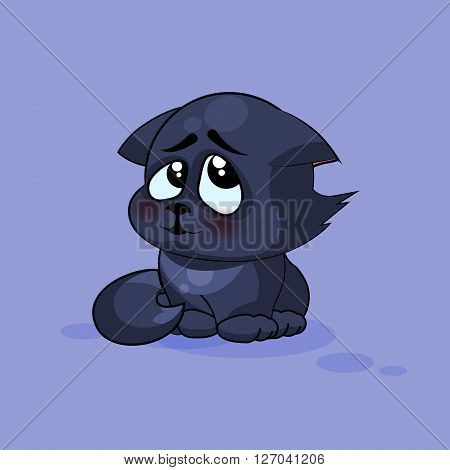 Vector Stock Illustration isolated Emoji character cartoon black cat embarrassed, shy and blushes sticker emoticon for site, infographics, video, animation, websites, e-mails, newsletters, reports, comics
