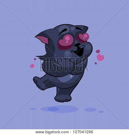 Vector Stock Illustration isolated Emoji character cartoon black cat in love flying with hearts sticker emoticon for site, infographics, video, animation, websites, e-mails, newsletters, reports, comics
