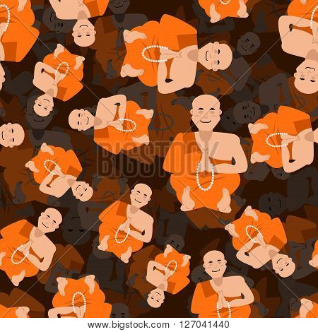 Tibetan Monk 3D Texture. Shaolin Monk Seamless Pattern. Yoga Buddhist Tibet Background. Novice Of Mo
