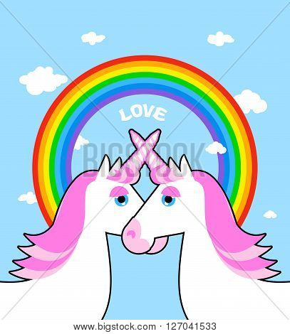 Two Pink Unicorn And Rainbow Love. Symbol Of Lgbt Community. Fantastic Animal Symbol Of Homosexual L
