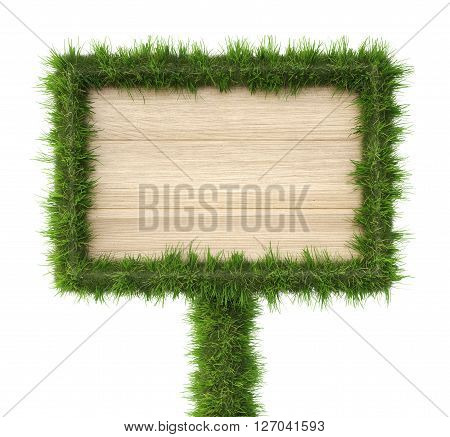 Wooden billboard with edges from grass. isolated on a white background. 3D illustration.