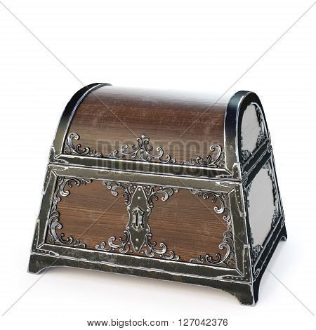 old wooden chest. isolated on a white background. 3D illustration.