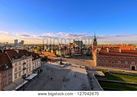 Top view of the old town in Warsaw. HDR - high dynamic range