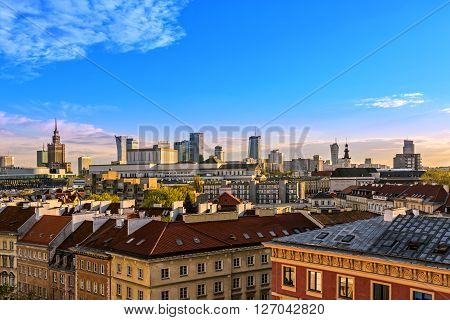 Top view of the center of Warsaw. HDR - high dynamic range