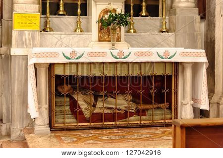 DUBROVNIK CROATIA - SEPTEMBER 1 2009: Relics of St. Silvan Martyr at the epistle inside St. Blaise church