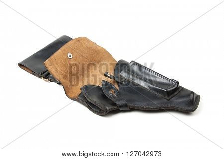 Leather holster, isolated on white