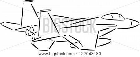 Vector illustration of a black aeroplane silhouette