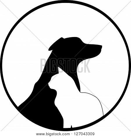 Composition of Dog and Cat Silhouettes. The symbol can be used in the production of pet products, pet food, veterinary and other design of pets theme. Vector