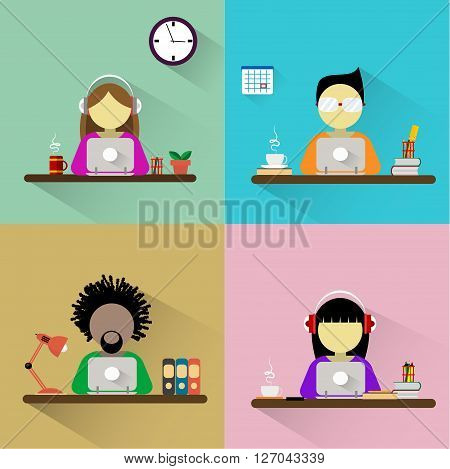 Four banners on the theme of communication in social networks, work with computer, freelance, teleworking. Worker sitting at the table and working on the computer. Flat design vector illustration.