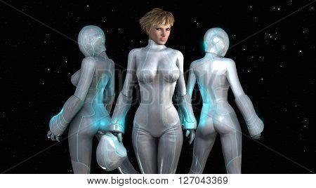 3d render of 3 space tech girls