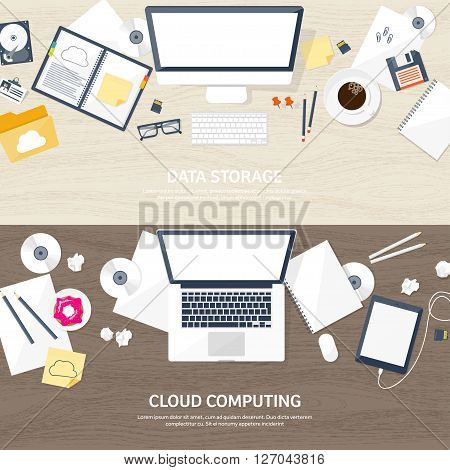 Vector illustration. Workplace, table with documents, computer. Flat cloud computing background. Media, data server. Web storage.CD. Paper blank. Digital technologies. Internet connection. Wooden texture, wood.