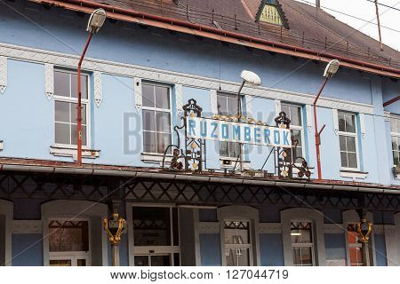 RUZOMBEROK, SLOVAKIA - FEBRUARY 27, 2015: Exterior view of the main railway station in Ruzomberok Slovakia on February 27, 2015. It was opened on December 8, 1871.