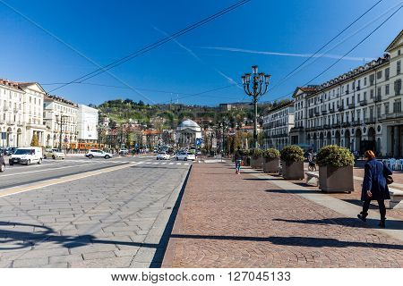 TURIN, ITALY - APRIL 8, 2015: Exterior view of the italian city Turin on April 8 2015. Its an important business and cultural centre in northern Italy and capital of the Piedmont region.