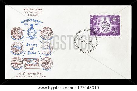 INDIA - CIRCA 1967 : Cancelled postage stamp printed by India, that shows Map.