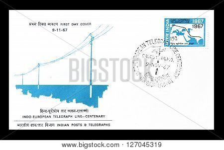 INDIA - CIRCA 1967 : Cancelled postage stamp printed by India, that shows Telegraph lines.