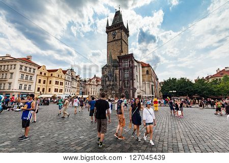 PRAGUE, CZECH REPUBLIC - JULY 18, 2015: The Church of Mother of God in front of Tyn in Prague on July 18 2015. Prague is the capital and largest city of the Czech Republic.