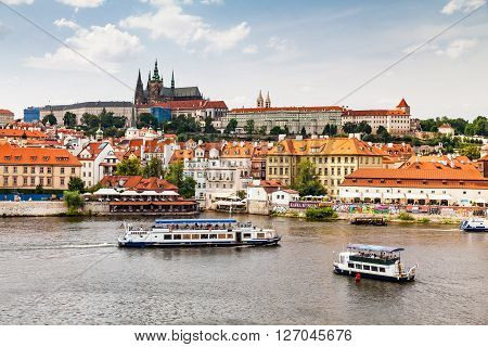 Prague, Czech Republic - July 18: View To The Vltava River From The Charles Bridge Near The Old Town