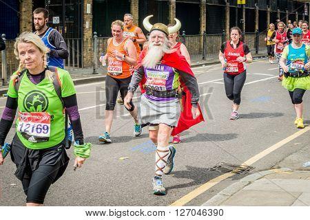 London United Kingdom - April 24 2016: London Marathon 2016. Runners in great costumes. Viking costume