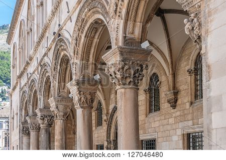 Rector's palace porch and vaulted arcade with Renaissance styled individualized column capitals