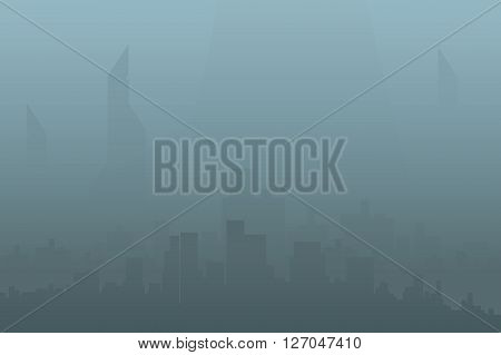 illustration of silhouette of the big citywith fog