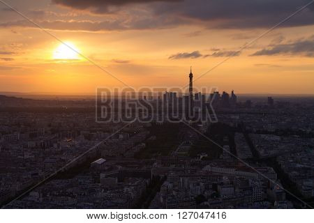 Paris Eiffel Tower At Sunset View From Montparnasse