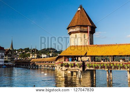 Lucerne, Switzerland - August 2: Views Of The Famous Bridge Kapellbruecke On Late Afternoon In Lucer
