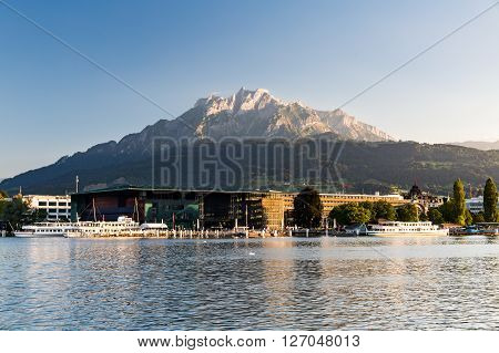 LUCERNE, SWITZERLAND - AUGUST 2, 2015: Views from the lake promenade of Lucerne on August 2, 2015. Lucerne is a famous tourist destination in Switzerland.