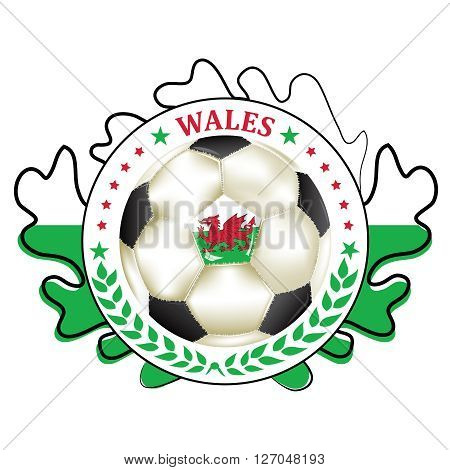 Printable Wales soccer label, containing a soccer ball and the flag of Wales. Print colors used