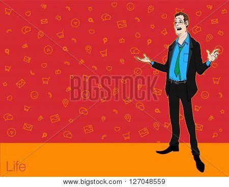 Speech presentation of business product project speech at conference. Handsome man wit balloon isolated of website. Storytelling in vector balloon. Vector isolated illustration balloon with guy.