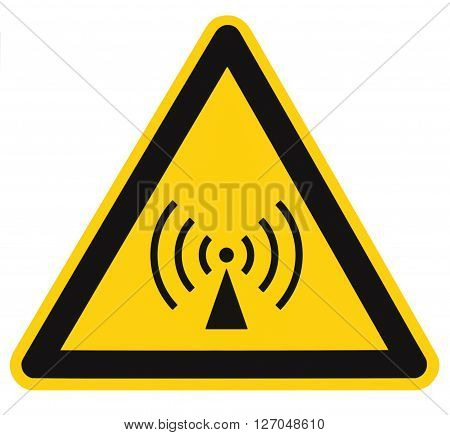 Non-ionizing radiation hazard safety area danger warning sign sticker label large icon signage isolated black triangle over yellow macro closeup