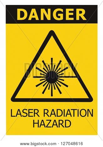 Laser radiation hazard safety danger warning text sign sticker label high power beam icon signage isolated black triangle over yellow large macro closeup